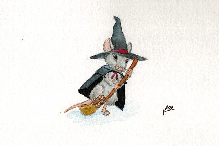Souris sorcière enjambant son balais.