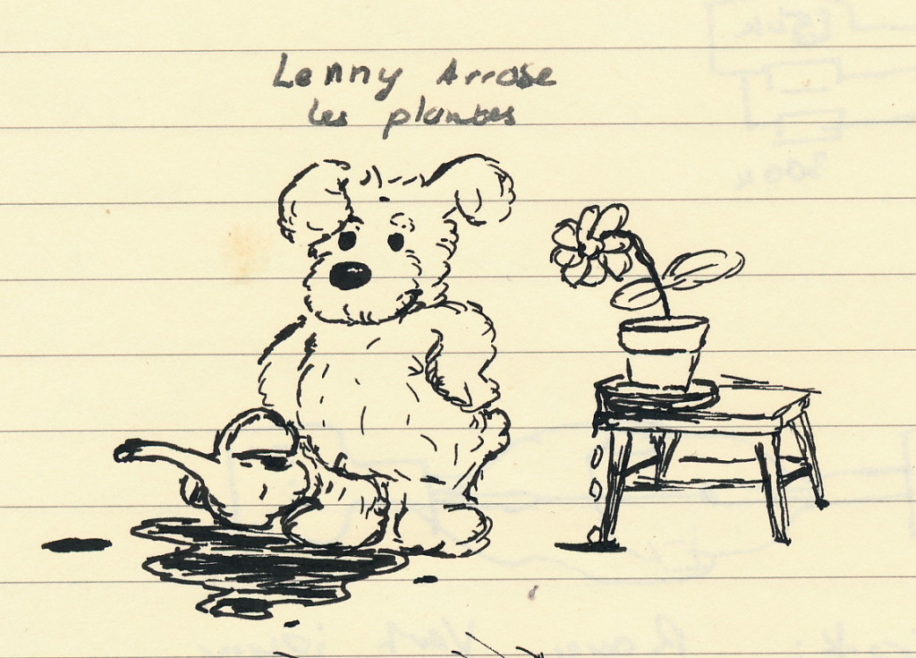 Lenny arrose les plantes (stylo)