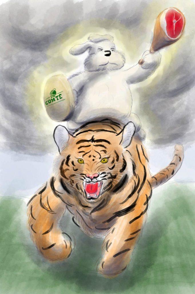 Lenny enfourchant le tigre, saisit d'une main mie un jambon et un fromage (des choses très concrètes) qui passaient par là derechef.