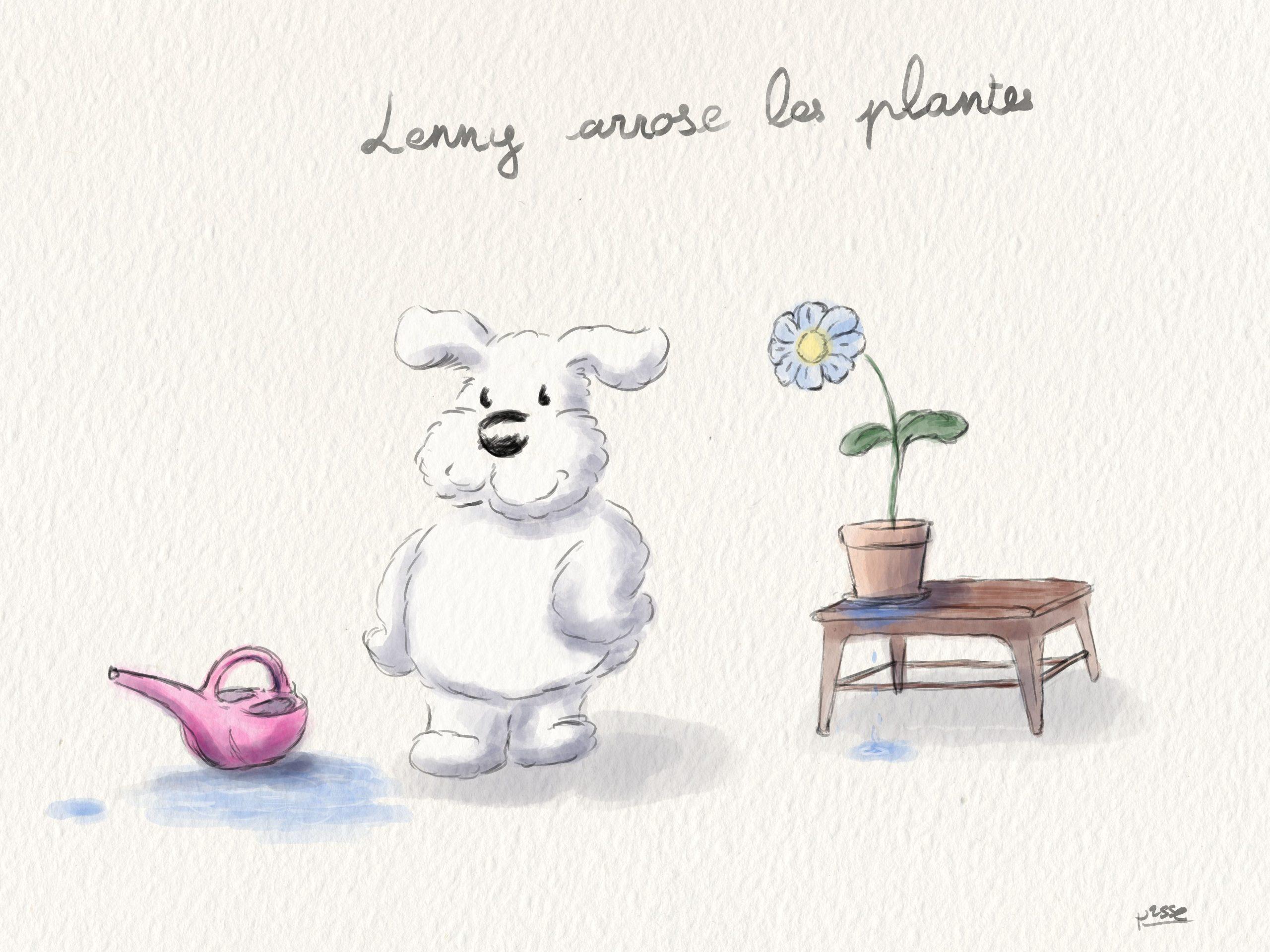 Lenny arrose les plantes (couleur)